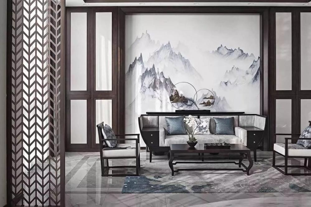 适合新中式家具的沙发背景点